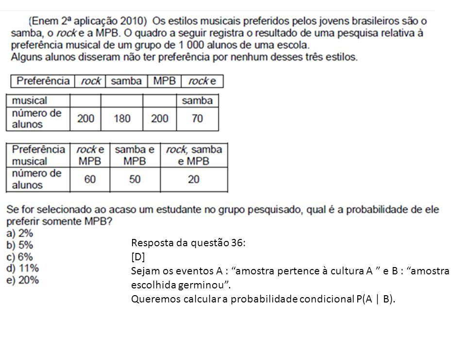 Resposta da questão 36: [D] Sejam os eventos A : amostra pertence à cultura A e B : amostra escolhida germinou .
